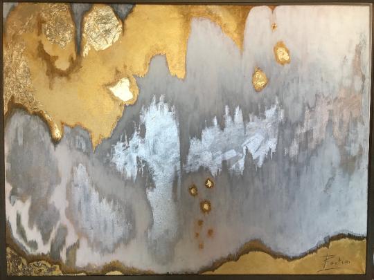 Obraz złocony olej+akryl na płótnie