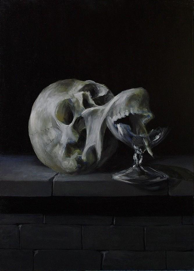 Obraz symboliczny, odniesiony do tematyki vanitas i tradycji celtyckich, kompozycja autorska.
