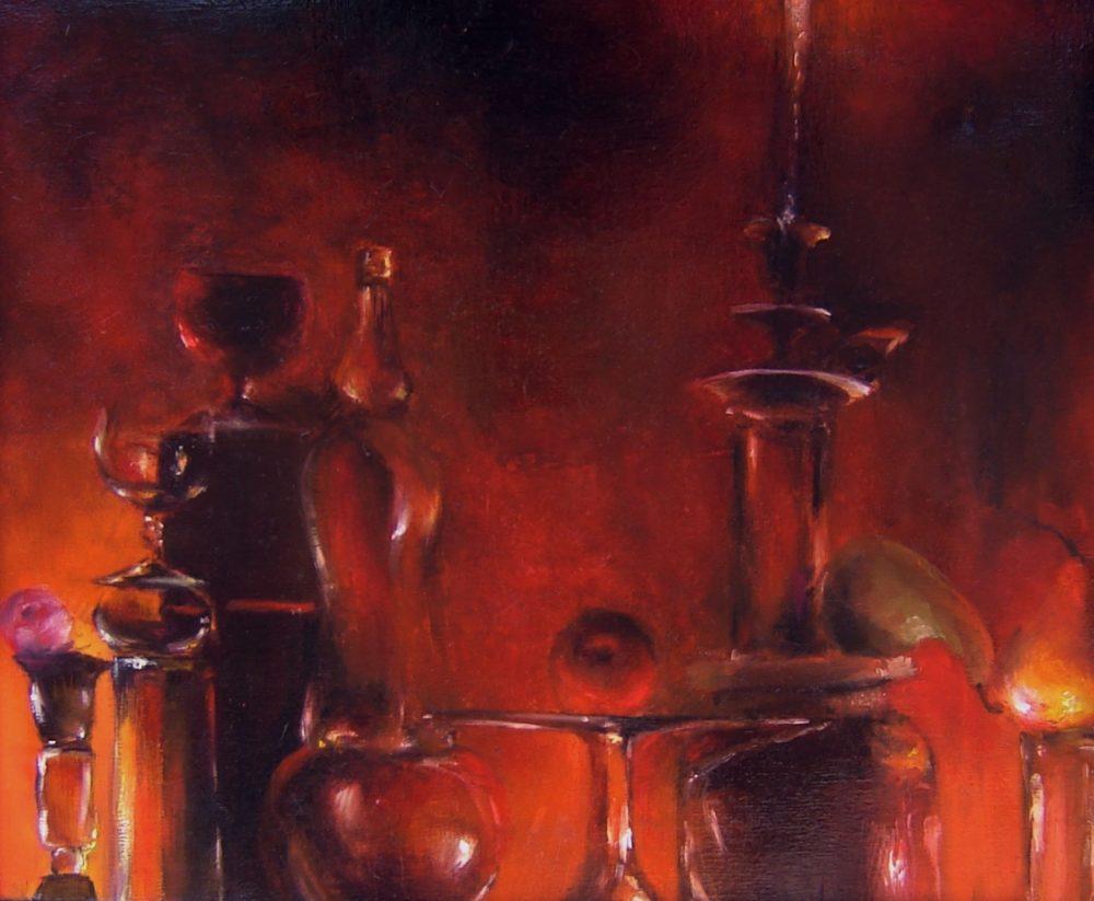 Obraz metaforyczny, kompozycja dość abstrakcyjna, fantazyjna, malowany z wyobraźni.