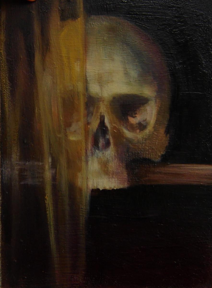 Obraz symboliczny, nawiązanie do sztuki baroku, tematyki vanitas, ale kompozycja jest moja, autorska.