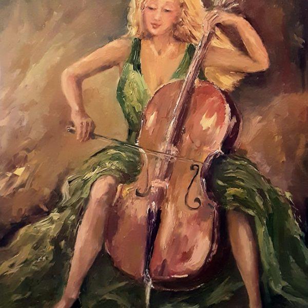 Wiolonczelistka w zielonej sukience