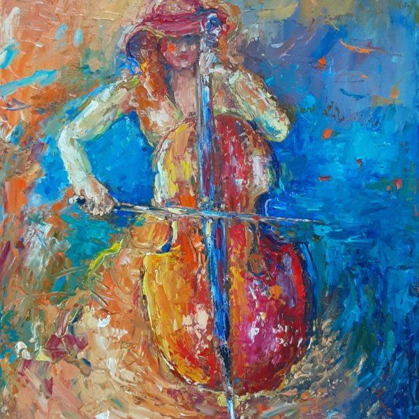 Wiolonczelistka w czerwonym kapeluszu